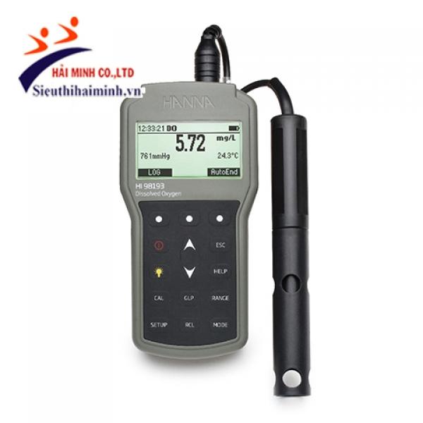 Máy đo oxy hòa tan và nhiệt độ Hanna HI98193/10 (chuyên nghiệp cáp 4m)
